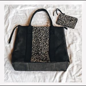all saints leather & sequinced tote